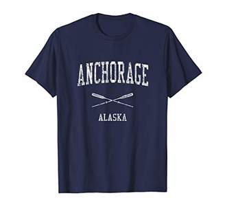 Anchorage Alaska AK Vintage Nautical Sports Design Tee