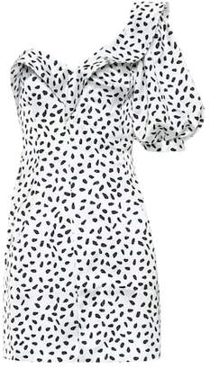 Self-Portrait Polka-dot satin minidress