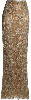 Oscar de la Renta Metallic Corded Lace Maxi Skirt