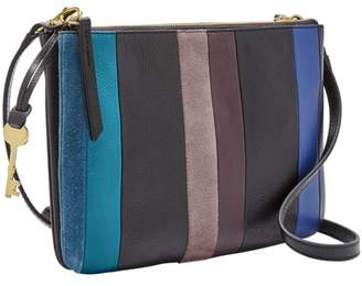 Fossil Devon Crossbody Handbag Blue Multi Stripe