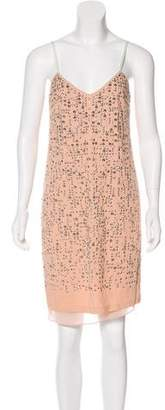 Rebecca Taylor Rhinestone Accent Knee-Length Dress