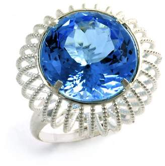 Assya Sterling Silver Cage Ring with Blue Topaz - Size N