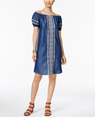Style & Co Off-The-Shoulder Denim Embroidered Dress, Only at Macy's $69.50 thestylecure.com