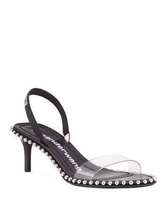 Alexander Wang Nova Studded Clear-Strap Slingback Sandals