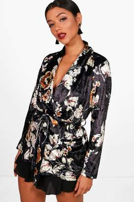 boohoo Olivia Printed Velvet Belted Blazer