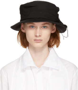 Y's Ys Black Gabardine Side Pleat Hat