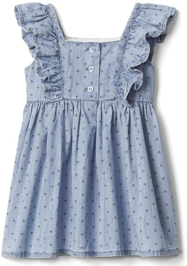Floral chambray flutter dress 4