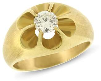 14k Yellow Gold 0.63ct. Diamond Solitaire Men's Pinky Ring Size 9