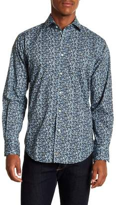Thomas Dean Leaf Patterned Long Sleeve Sport Fit Shirt