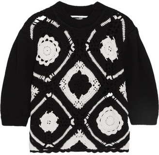 McQ Alexander McQueen - Crocheted Wool And Cotton-blend Sweater - Black $395 thestylecure.com