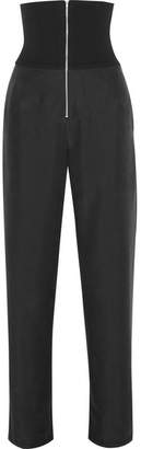 The Range - Liquid Ribbed Stretch-jersey And Washed-satin Straight-leg Pants - Black