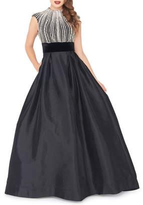 Mac Duggal Bejeweled Bodice Crewneck Cap-Sleeve Ball Gown w/ Pockets