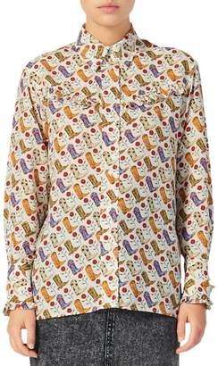 Sandro Bootsee Printed Ruffle Collared Shirt