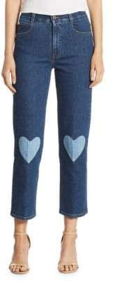 Peserico High-Rise Cropped Straight Heart-Detail Jeans