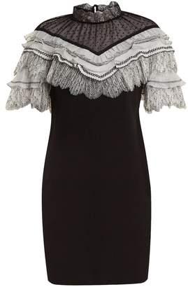 Self-Portrait Lace-trimmed short-sleeved cady dress