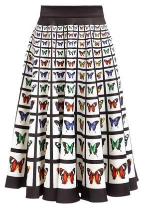 Mary Katrantzou Flip Butterfly Print Neoprene Midi Skirt - Womens - White Multi