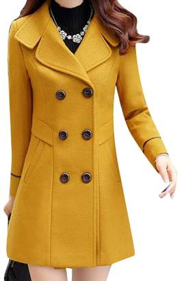 WAYA-Women Double-Breasted Solid Color Winter Long Wool Trench Pea Coat Overcoat L