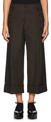 Yohji Yamamoto Regulation Women's Button-Detailed Cotton Canvas Ankle Pants