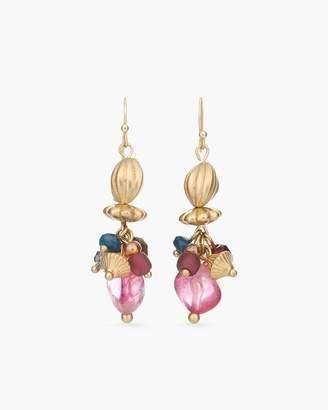 Multi-Colored Stone Drop-Cluster Earrings