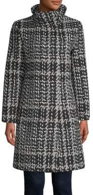 DKNY Wool-Blend Stand Collar Coat