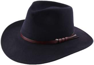 Classic Italy Classique Large Wool Felt Fedora Hat Size 55 cm Gray-Fonce-Chine