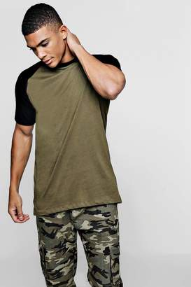 boohoo Longline T-Shirt With Velour Sleeves