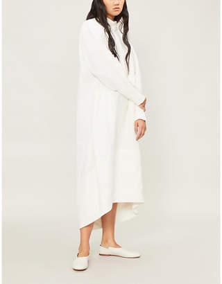 Jil Sander Dipped-hem linen midi dress