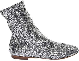 Dolce & Gabbana Sequined Stretch Ankle Boots