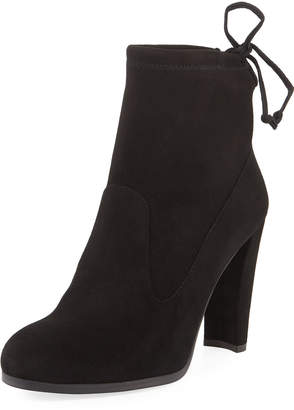 Stuart Weitzman Catch Suede Booties with Ankle Tie