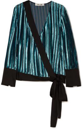 Diane von Furstenberg Satin-trimmed Devoré-velvet Wrap Blouse