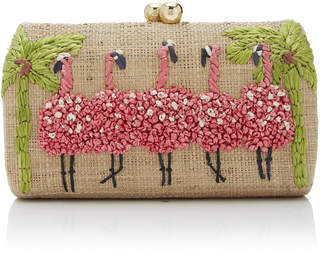 Farah Serpui Flamingo Embroidered Minaudiere