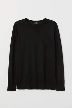 H&M Knit Merino-blend Sweater - Black