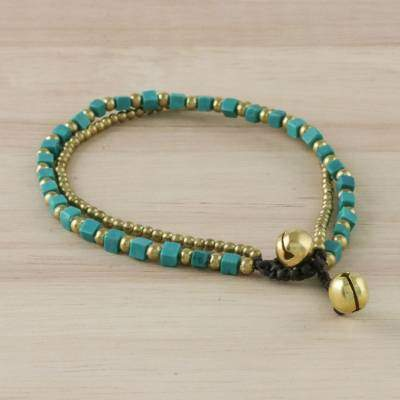 Mint Delight Colorful Calcite and Brass Beaded Bracelet from Thailand