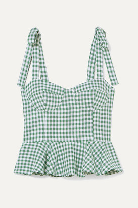 Reformation Kassi Gingham Linen Peplum Top - Green