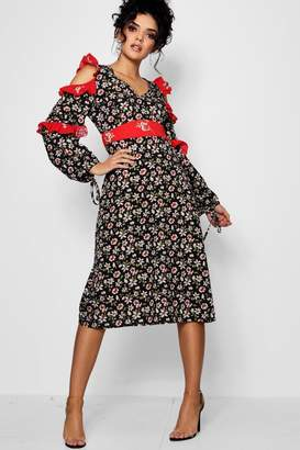 boohoo Mix Print Ruffle Detail Midi Dress