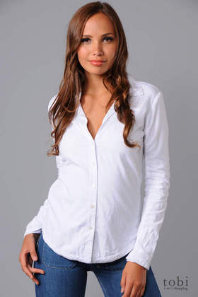 James Perse Long Sleeve Lined Button Down Shirt