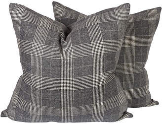 One Kings Lane Vintage Gray Houndstooth Check Pillows - Set of 2 - Ivy and Vine