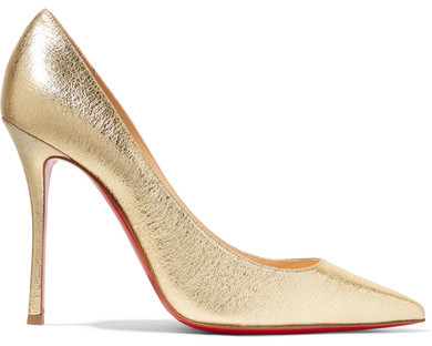 Christian Louboutin - Decoltish 100 Textured-leather Pumps - Gold