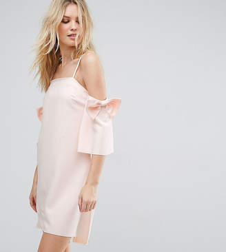 True Decadence Tall Cold Shoulder Mini Dress With Bow Sleeve Detail