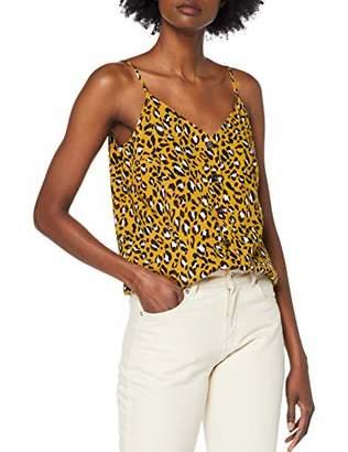 Warehouse Women's Leopard Print Button Through Vest Top, Beige (Tan 84), (Size:)