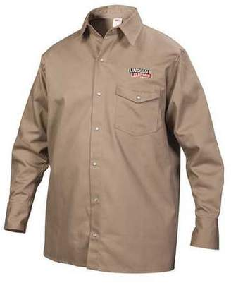 Lincoln Electric LINCOLN ELECTRIC KH841XXL Flame-Resistant Collared Shirt,Khaki,2XL G4445686