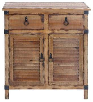 URBAN RESEARCH DecMode Decmode Natural 36 Inch Wood Cabinet with Storage & Louvered Cabinet