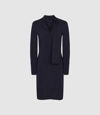 Reiss Mirela - Neck Tie Mini Dress in Navy