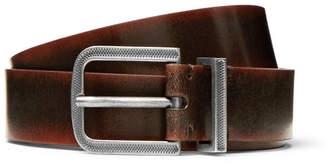 Brunello Cucinelli 3cm Dark-Brown Burnished-Leather Belt