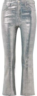 J Brand Selena Cropped Metallic Snake-effect Leather Flared Pants