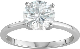 Charles & Colvard 14k White Gold 1 9/10 Carat T.W. Lab-Created Moissanite Solitaire Engagement Ring