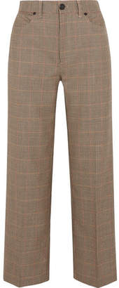 Rag & Bone Sadie Houndstooth Wool Wide-leg Pants - Brown