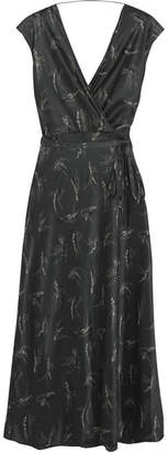 Vince Wrap-effect Printed Silk-satin Midi Dress - Charcoal