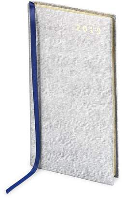 Aspinal of London Slim Pocket Leather Diary In Silver Saffiano