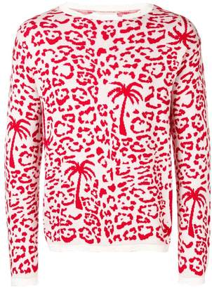 Laneus leopard print embroidered sweater